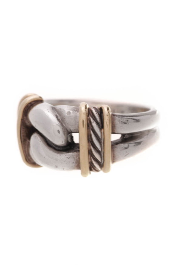 David Yurman Single Loop Ring Silver Gold Size 7