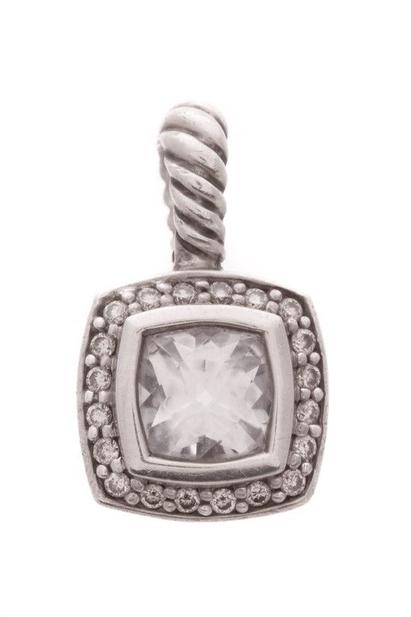 David Yurman White Topaz Diamond Petite Albion Pendant Silver