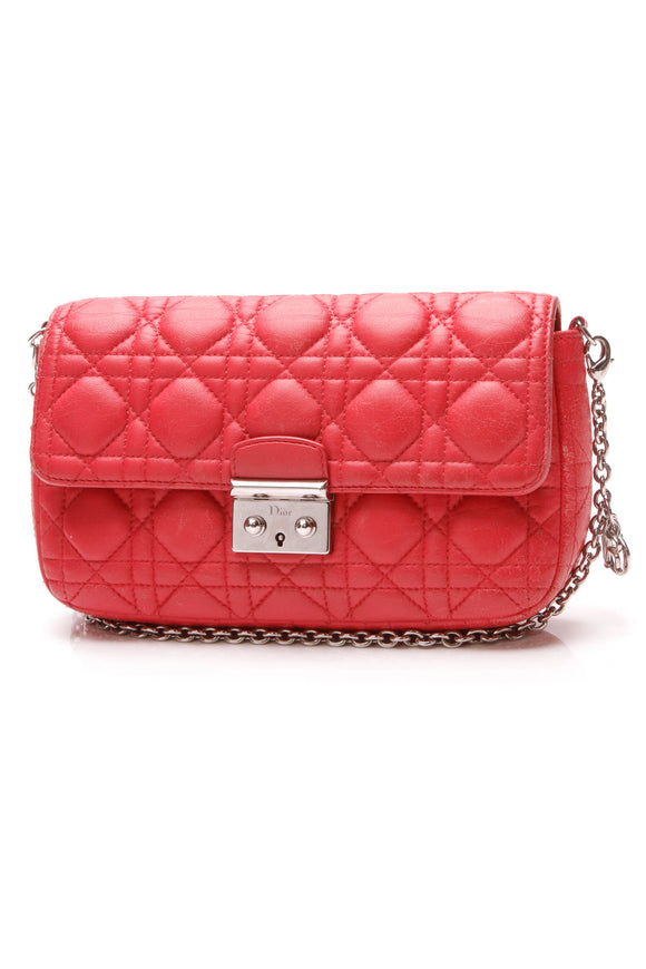 Christian Dior Miss Dior Cannage Small Flap Bag Red