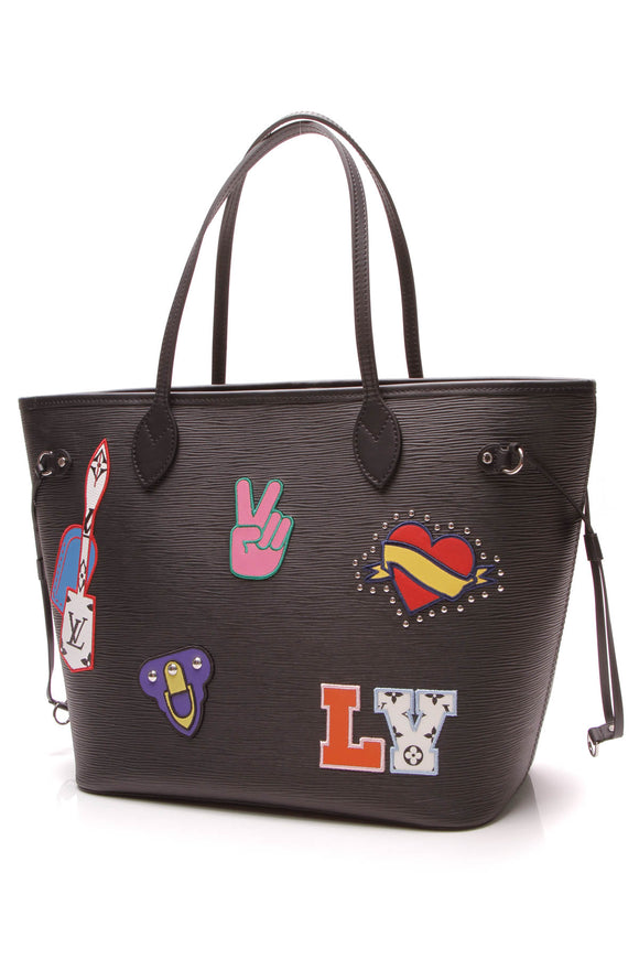 Louis Vuitton Epi Patches Neverfull MM Bag Black