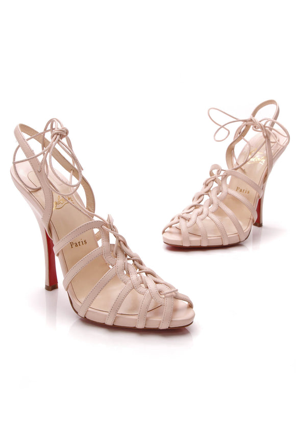 Christian Louboutin Flamenqueen 120 Heeled Sandals Poudre Size 40 Pink