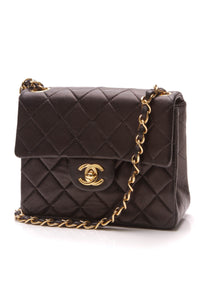 Chanel Vintage Classic Mini Square Flap Bag Black Lambskin