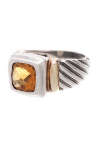 David Yurman 7mm Citrine Noblesse Ring Silver Gold Size 7
