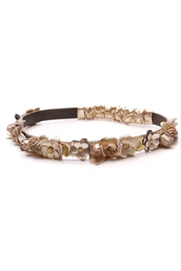 Chanel Paris Greece Floral Headband Metallic Gold