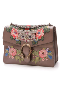 Gucci Embroidered Owl Dionysus Medium Shoulder Bag Brown