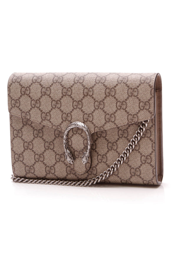 Gucci Dionysus Wallet on a Chain Bag Supreme Canvas Beige