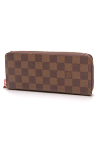 Louis Vuitton Clemence Wallet Damier Ebene Cherry Brown Red