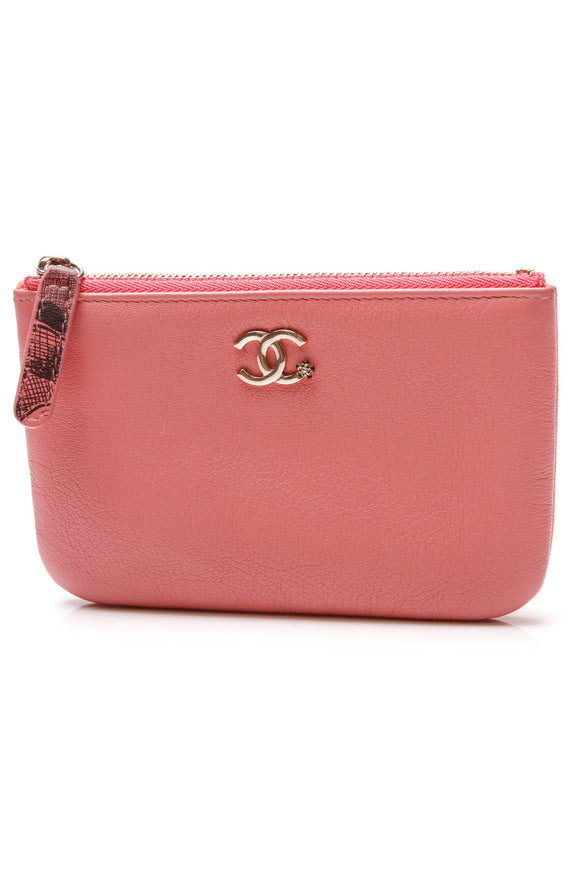 Chanel Camellia Mini O Case Zip Pouch Pink