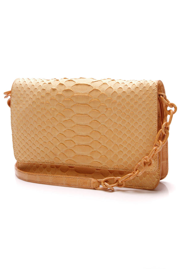 Nancy Gonzalez Soft Python Crocodile Small WOC Bag Light Orange