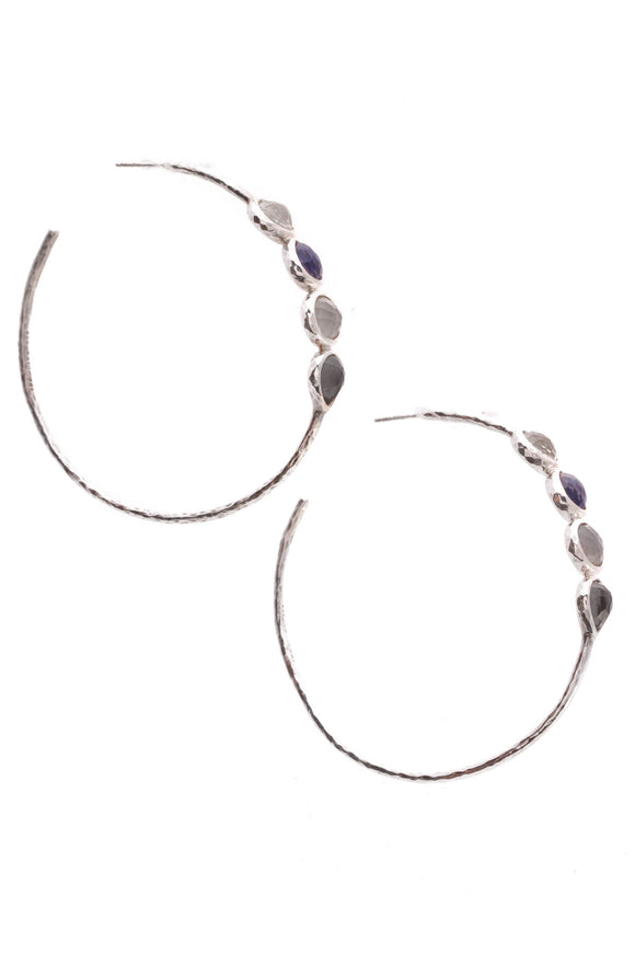 Ippolita Wonderland 4-stone Hoop Earrings Silver