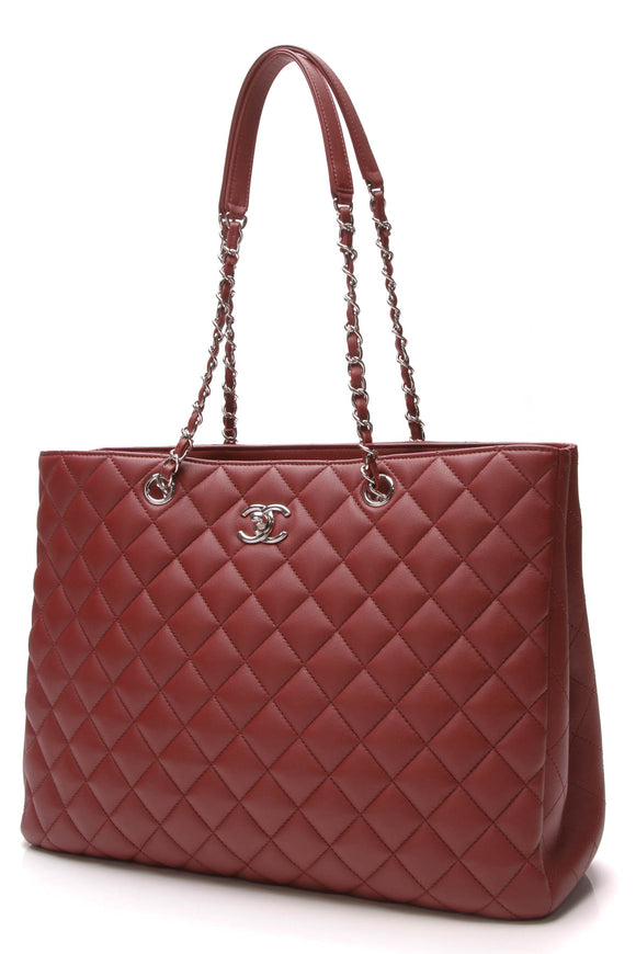 Chanel Large Shopping Tote Bag Burgundy