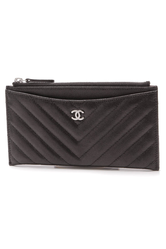 Chanel Quilted Chevron Zip Pouch Black Caviar