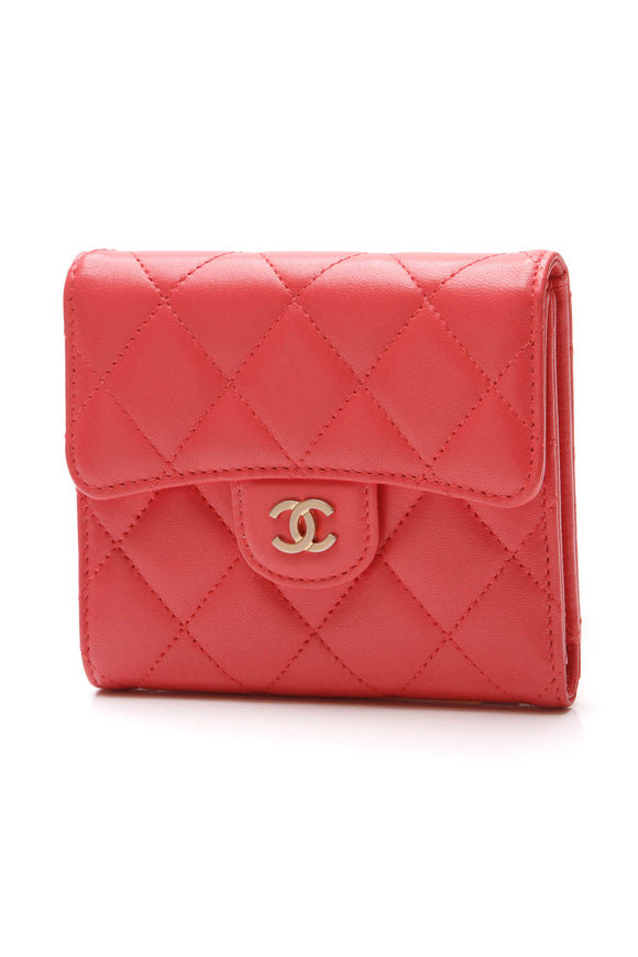 Chanel Classic Flap Small Compact Wallet Red