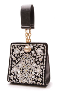 Tory Burch Darcy Embellished Clutch Bag Black