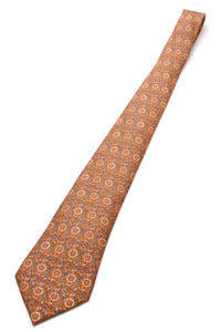 Hermes Sunflower Print Silk Necktie Orange