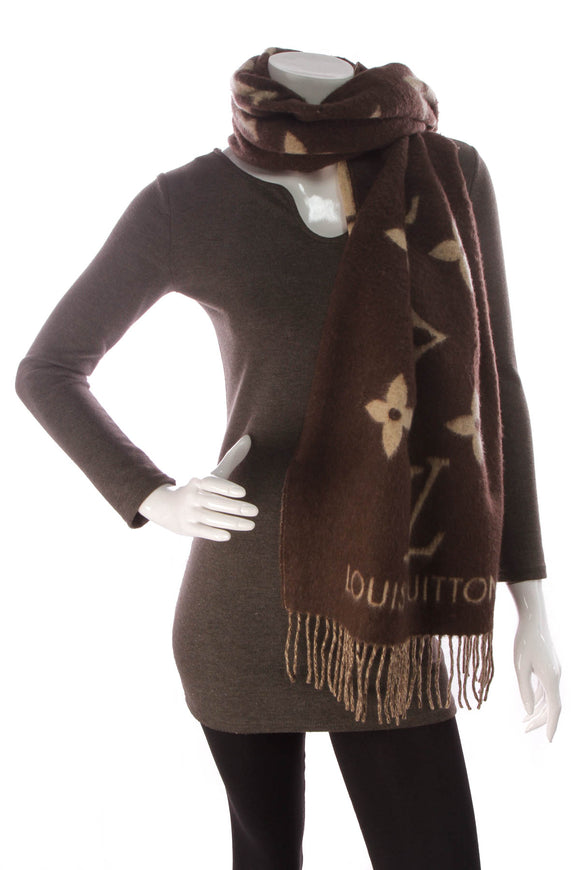 Louis Vuitton Reykjavik Monogram Cashmere Scarf Brown