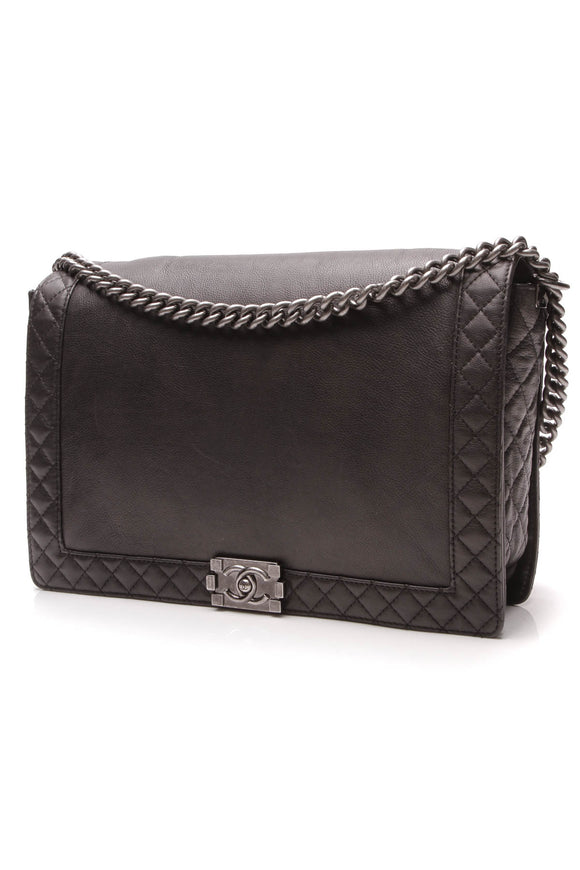 Chanel Reverso Boy Flap Bag Maxi Black Calfskin