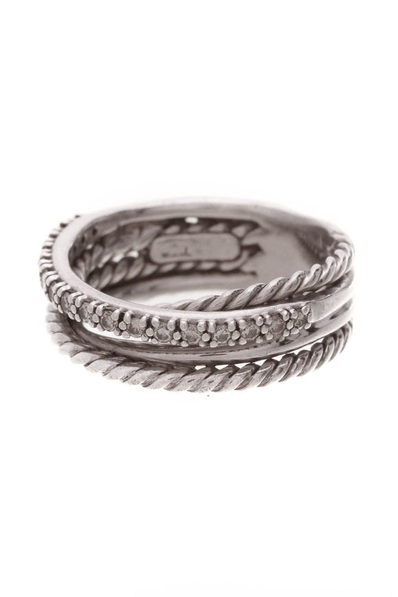 David Yurman Diamond Crossover Ring Silver Size 6