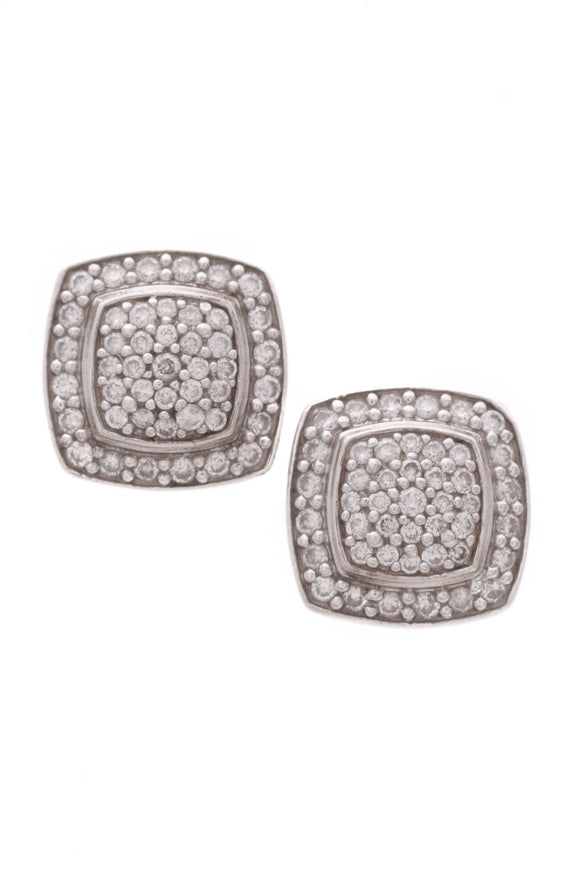 David Yurman 7mm Pave Diamond Albion Earrings Silver