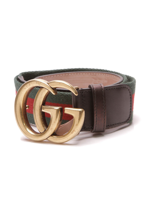 Gucci Web Double G Buckle Belt Multicolor Size 28