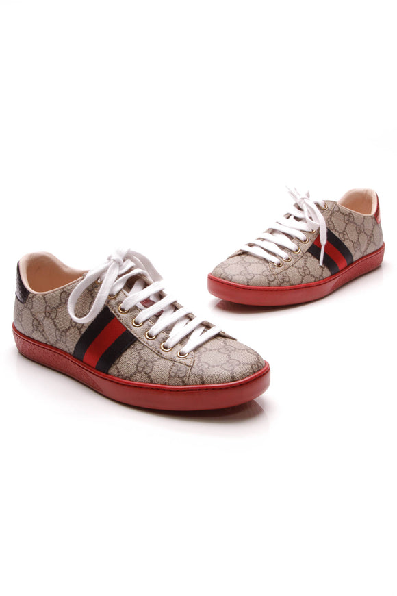 Gucci Ace GG Low-Top Sneakers Supreme Size 36.5 Beige Red
