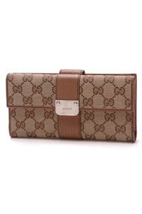 Gucci Continental Long Wallet Signature Canvas Brown