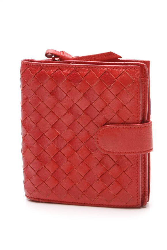 Bottega Veneta Intrecciato French Small Bi-Fold Wallet Red