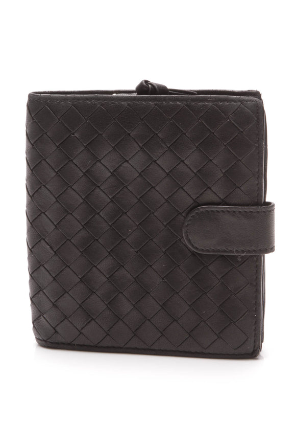 Bottega Veneta Intrecciato French Bi-Fold Wallet Black
