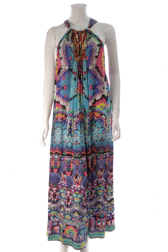 Camilla Bead Print Drawstring Dress Multicolor