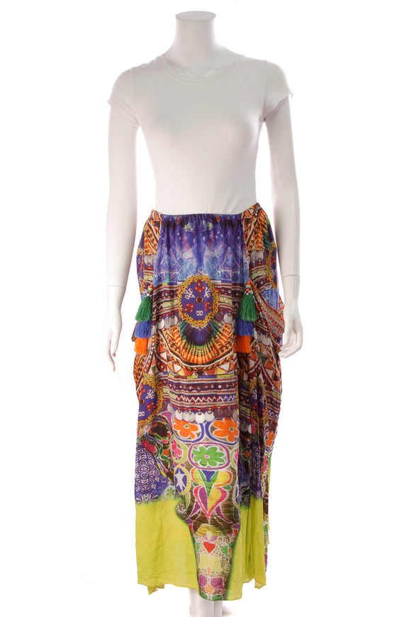 Camilla Printed Tassel Skirt Multicolor