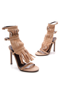 Gucci Fringe Heeled Sandals Tan Suede Size 36
