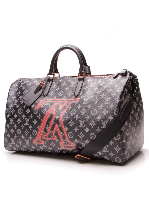Louis Vuitton Keepall Bandouliere 50 Travel Bag Ink Blue Upside Down Monogram