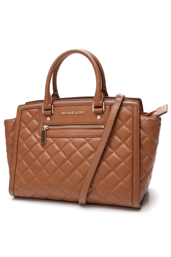Michael Kors Quilted Selma Tote Bag Camel Brown