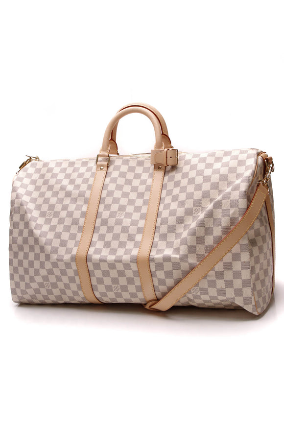 Louis Vuitton Keepall Bandouliere 55 Travel Bag Damier Azur