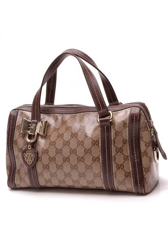 Gucci Duchessa Small Boston Bag Crystal Canvas Beige