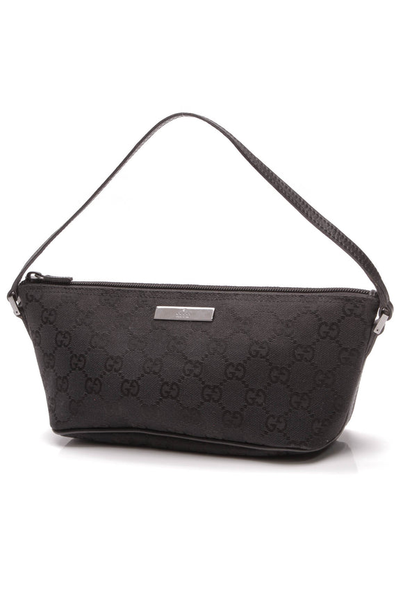 Gucci Boat Pochette Bag Black Signature Canvas