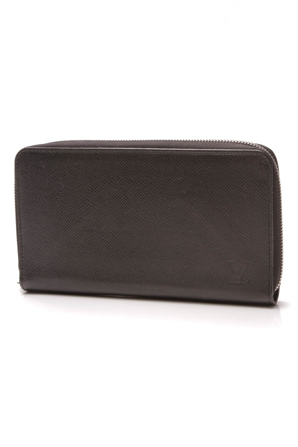 Louis Vuitton Zippy Organizer Wallet Black Taiga
