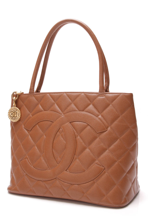 Chanel Vintage Medallion Tote Bag Brown Caviar
