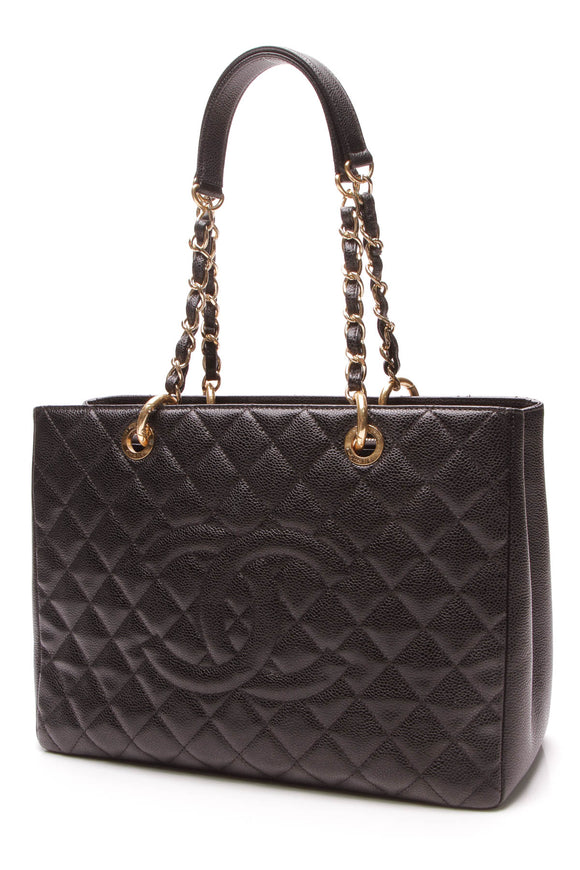 Chanel GST Grand Shopping Tote Bag Black Caviar