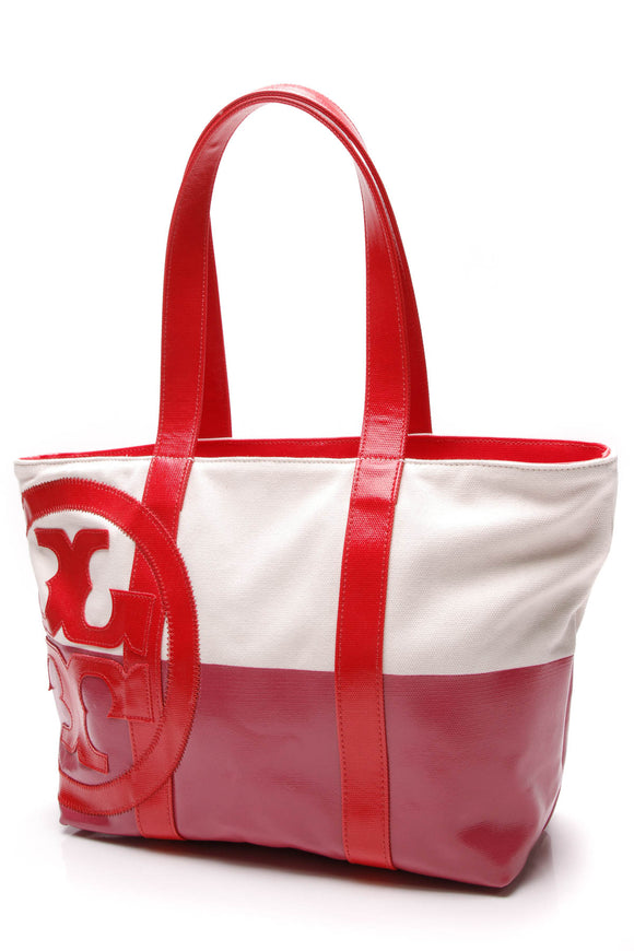Tory Burch Dipped Large Beach Tote Multicolor Pink Red