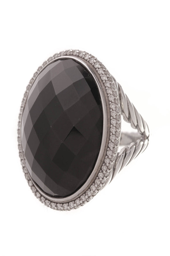 David Yurman Diamond Black Onyx Signature Large Oval Ring Silver Size 7