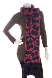 Louis Vuitton Grand Fleur Echarpe Wool Scarf Navy Pink