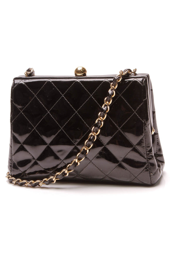 Chanel Vintage Kiss Lock Quilted Crossbody Bag Black Patent
