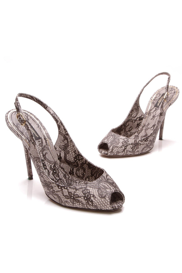 Dolce & Gabbana Embossed Lace Slingback Pumps Black Gray Size 40
