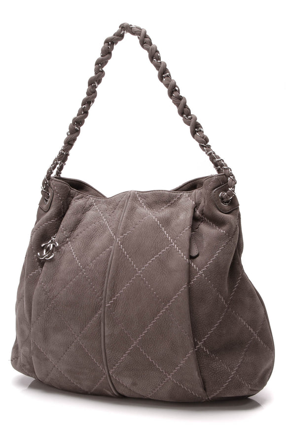 Chanel Ultimate Stitch Hobo Bag Gray Nubuck