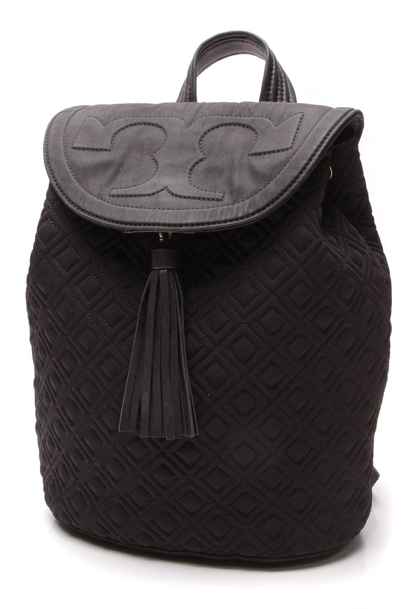 Tory Burch Fleming Quilted Backpack Black Nylon
