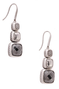 David Yurman Diamond Hematite Chiclet Earrings Silver