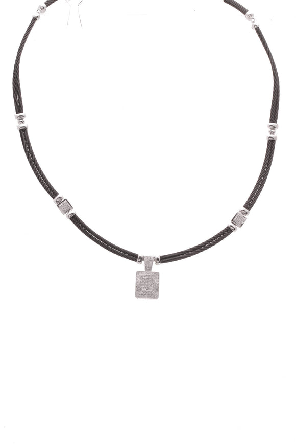 Charriol Diamond Station Cable Necklace Black White Gold