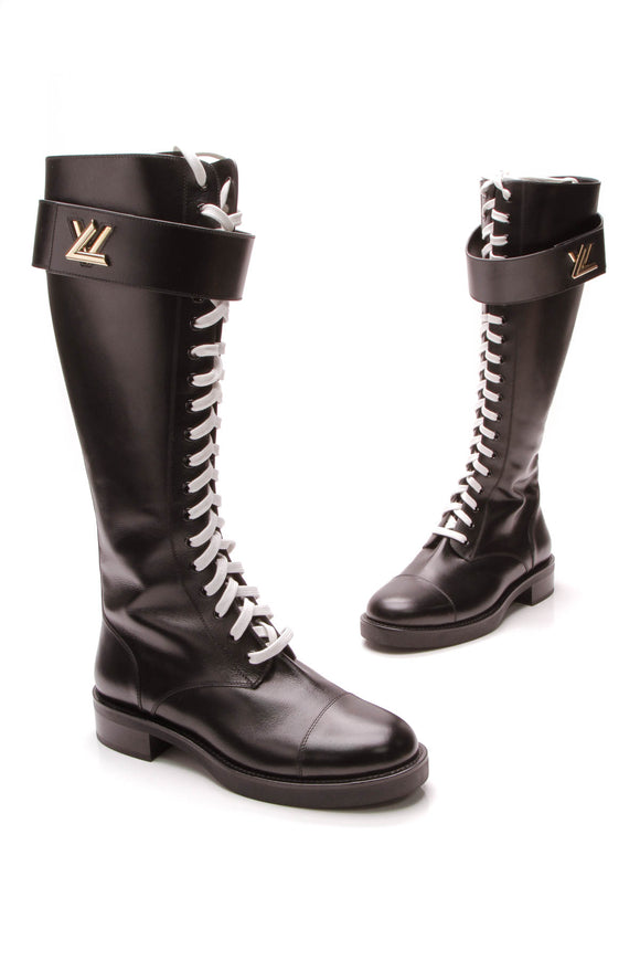 Louis Vuitton Wonderland Knee High Boots Black Size 40