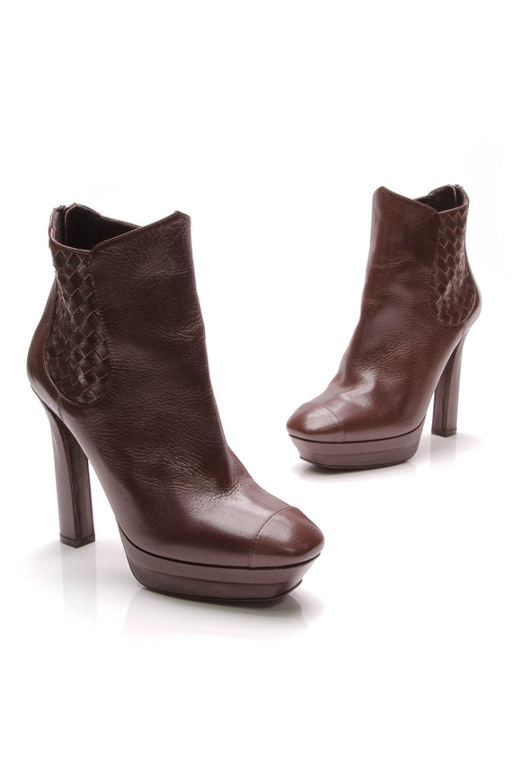 Bottega Veneta Intrecciato Platform Ankle Boots Brown Size 40